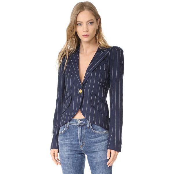 SMYTHE One Button Blazer ($700) ❤ liked on Polyvore featuring outerwear, jackets, blazers, navy pinstripe, pleated jacket, herringbone jacket, navy blue blazer, pinstripe blazer and smythe blazer