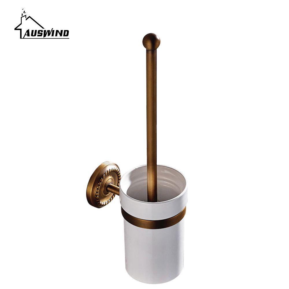 Antique Bronze Solid Brass Toilet Brush Holder Brass Ceramic Toilet ...