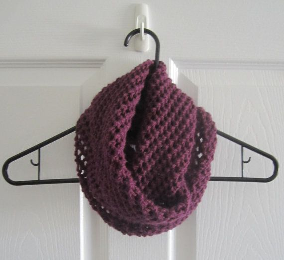 simple.  Lace Knit // Infinity Scarf // RedPurple // by itsCOWLdoutside, $28.00