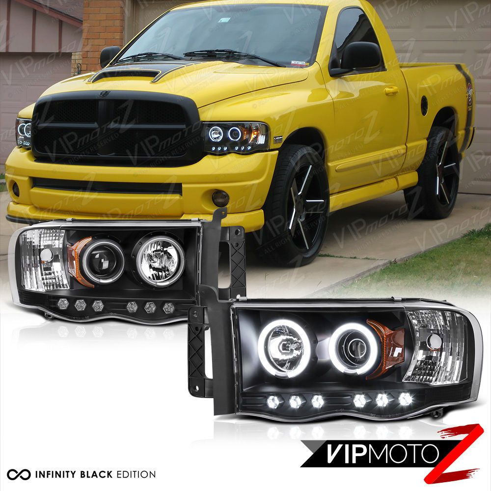 2002 2005 Dodge Ram Ccfl Halo Angel Eyes Led Projector Black Headlight Pair L R Ebay Black Headlights Dodge Ram Dodge