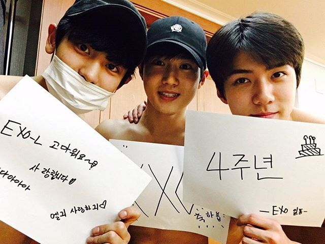 """축"" EXO 4주년 #exol감사합니다 #사랑해요 --- #4YearsWithEXO --- they are shirtless......I repeat.....they are shirtless...."