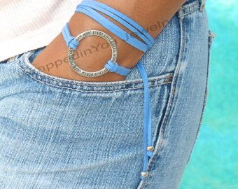 Boho Leather Triple Wrap ANKLET Pick SIZE / COLOR by WrappedinYou