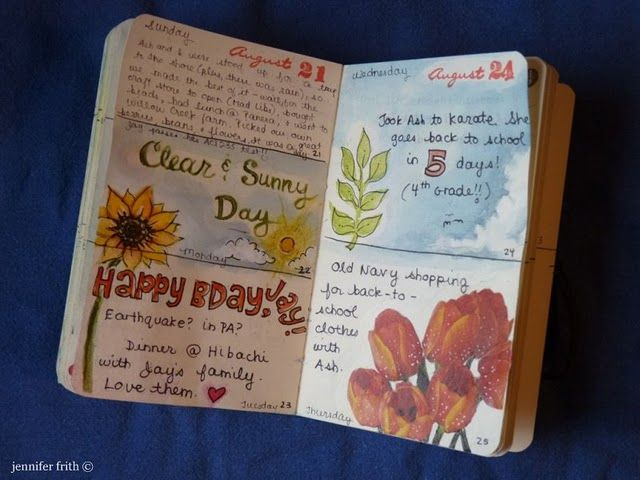 Journaling inspiration. She makes a small sketch of some sort every day, or sometimes just once a week. Great idea for keeping a steady practice of art.