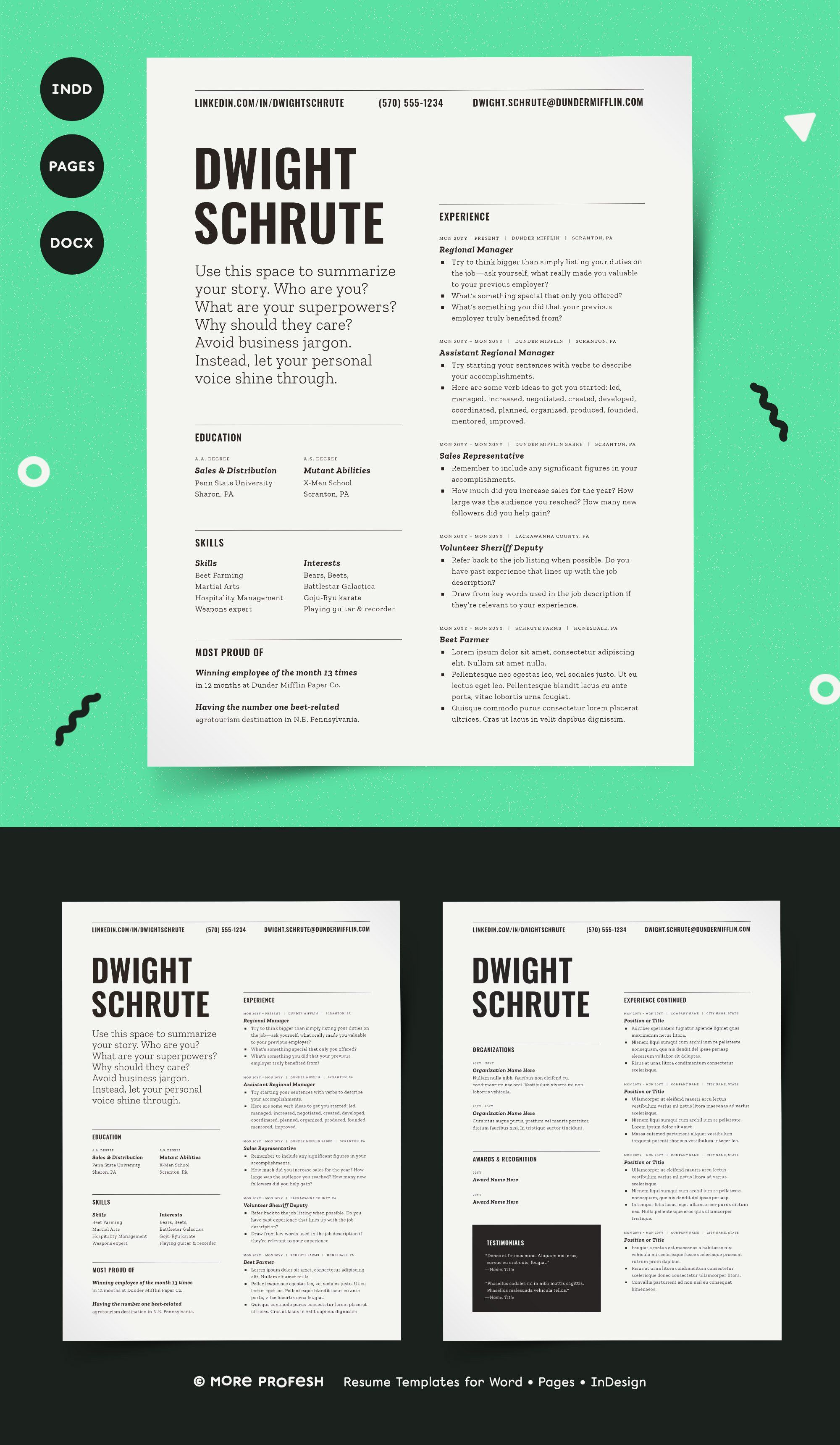 Resume Template For Word Pages Indesign By More Profesh On Creativemarket Resumetemplate Resume Cvtemplate