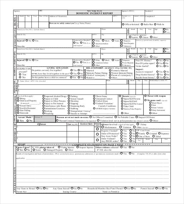 Report Template Incident Report Form Police Report