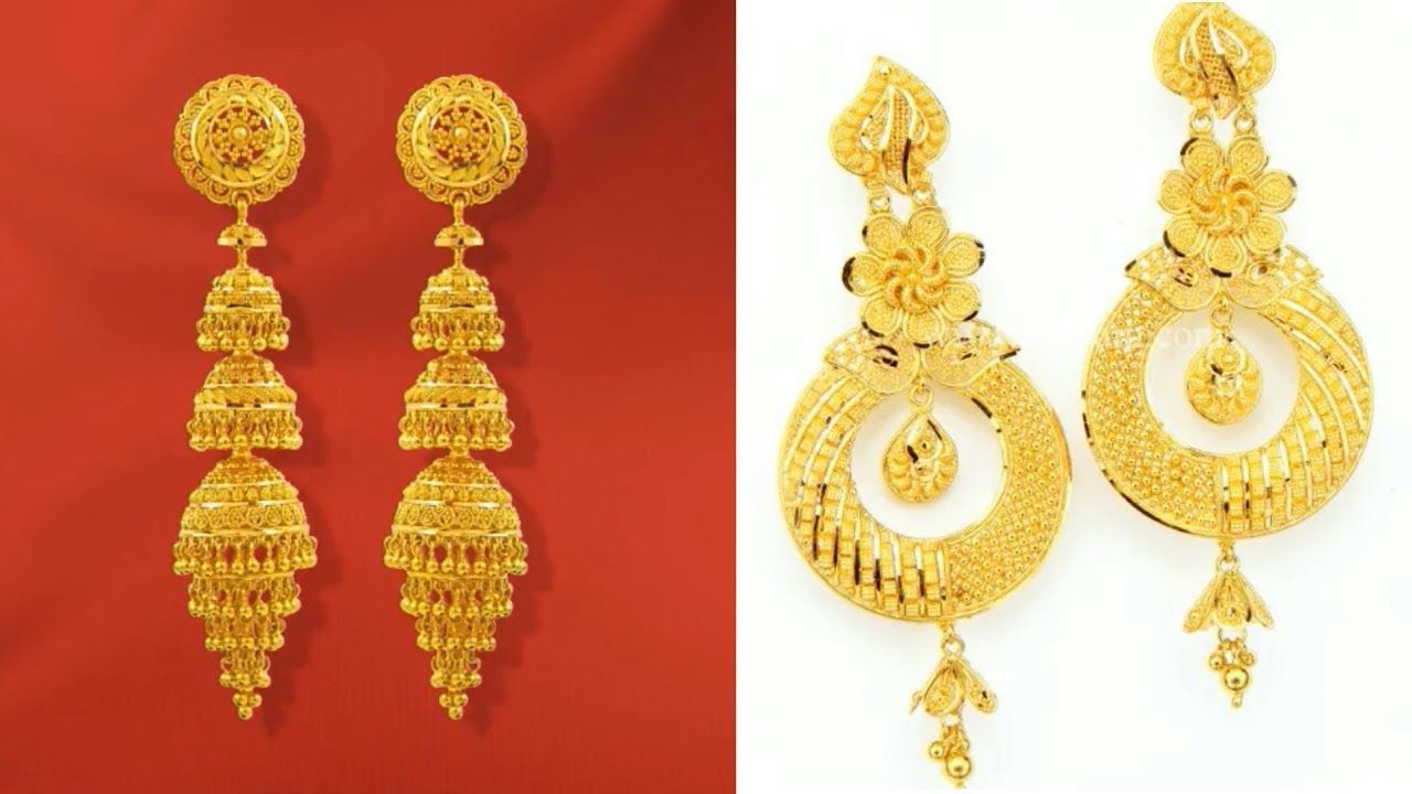 Latest Gold Earrings Designs Long Dangle Jhumk