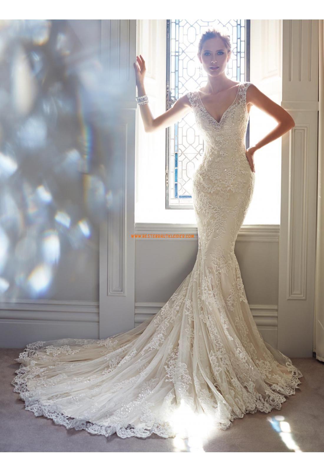V-auschnitt Trendige Schicke Brautkleider aus Softnetz mit ...
