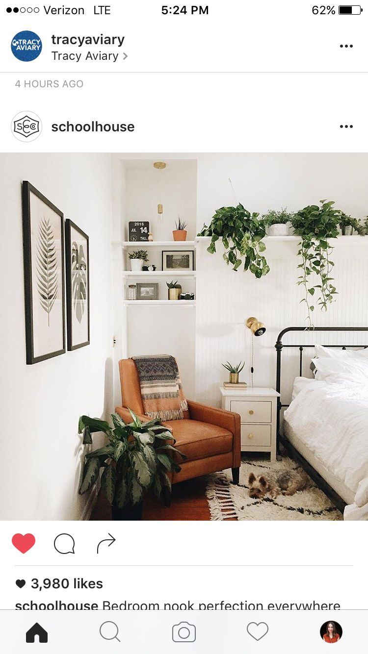 Love The Plant Shelf Above The Bed Home Bedroom Bedroom Nook