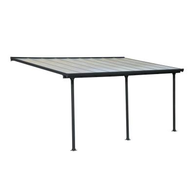 Palram Sierra 10 Ft X 24 Ft Gray Bronze Patio Cover Awning 705334 The Home Depot In 2020 Covered Patio Grey Patio Patio Shade