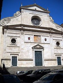Sant'Agostino is a Roman Catholic church in the piazza of the same name near Piazza Navona, in the rione Sant'Eustachio, of Rome, Italy. It is one of the first Roman churches built during the Renaissance.