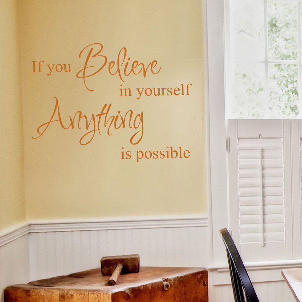 Inspiration wall decal believe in yourself vinyl quote baby bedroom