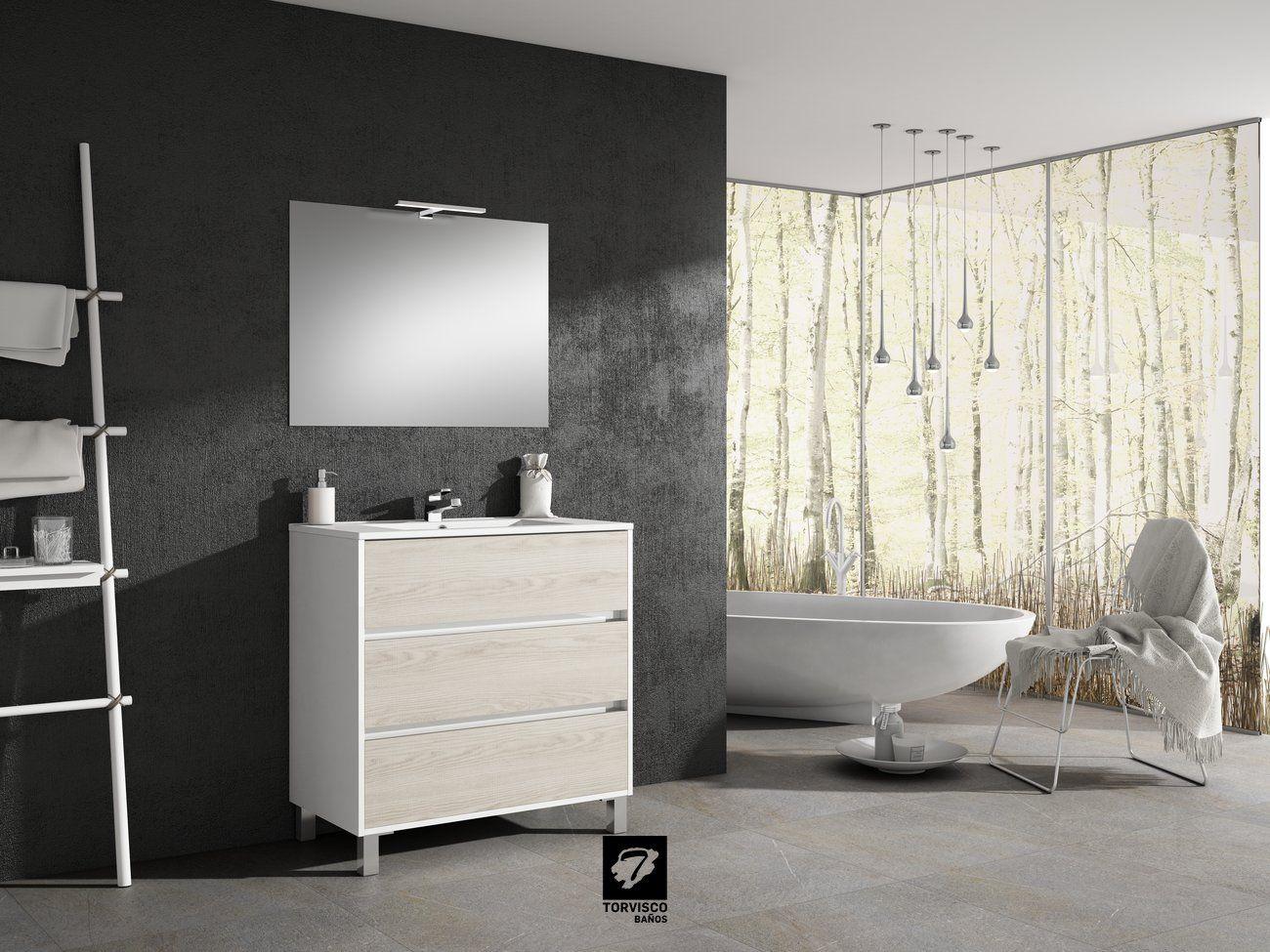 Mueble de baño modelo TAIGA 80cm fondo 45cm 3 cajones con ...
