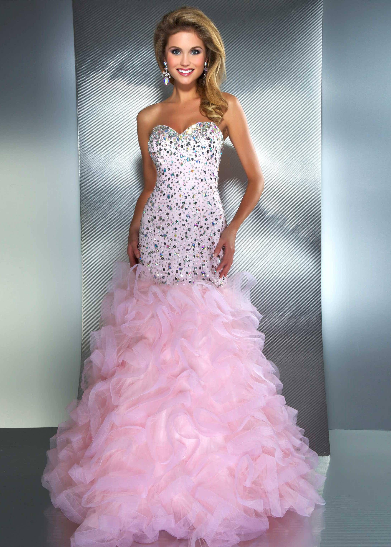 New 2013 Mac Duggal 61193M ice pink strapless jeweled mermaid prom ...