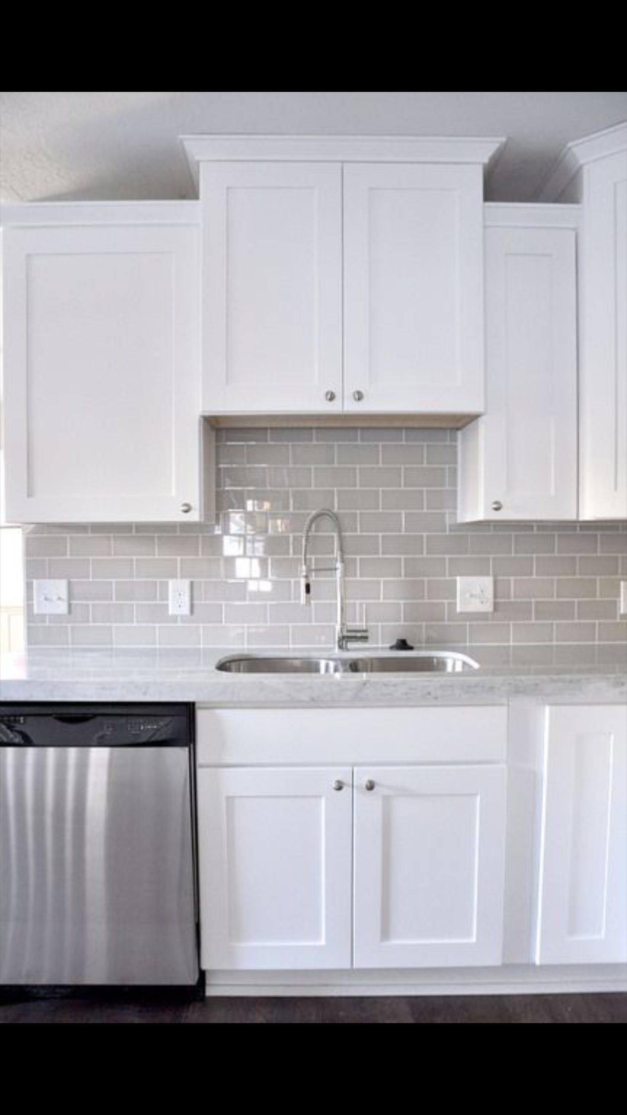 - Backsplash Is Gray Glass Tile MDK (With Images) Kitchen Cabinets