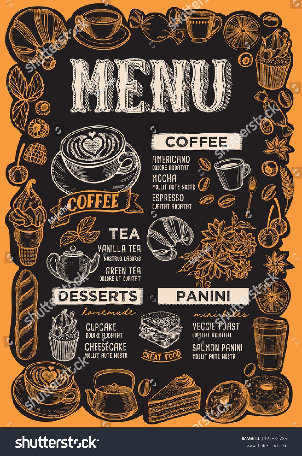 Coffee Menu Template For Restaurant On A Blackboard Background
