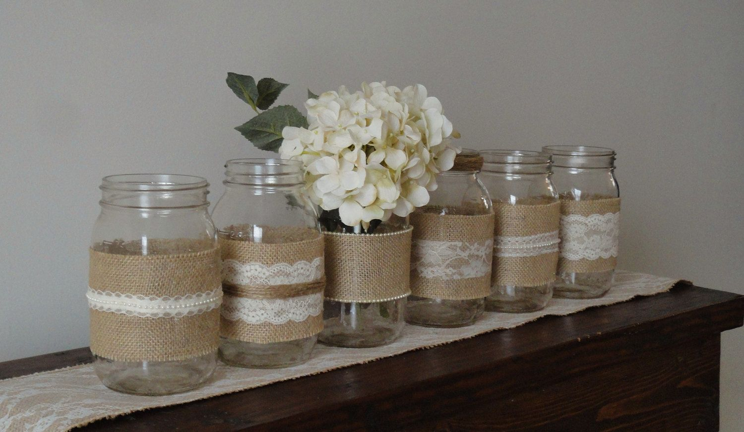 Decorated Mason Jars For Sale Items Similar To Clearance Sale Diy Burlap And Lace Wedding Kit