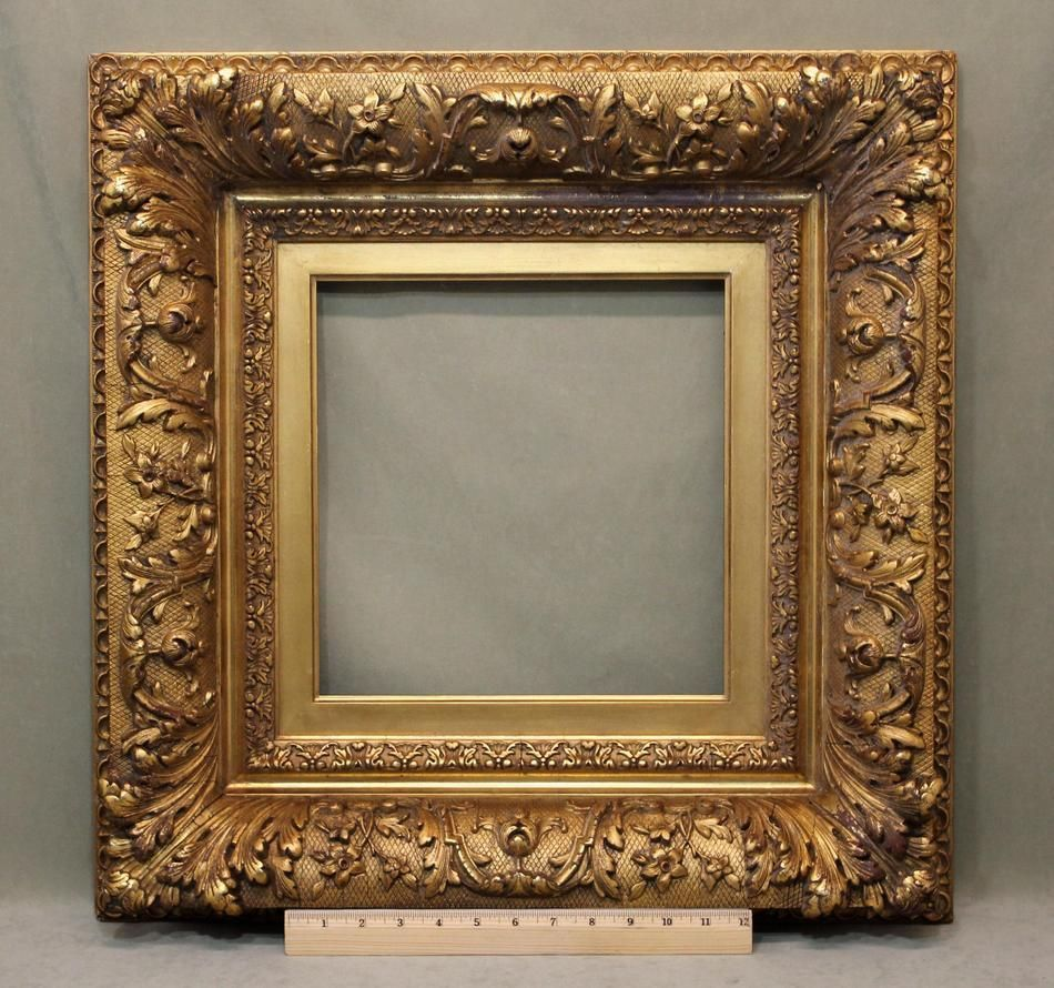 Antique American 19thC Gold Gilt Oil Painting Mirror Frame, I.A. ...