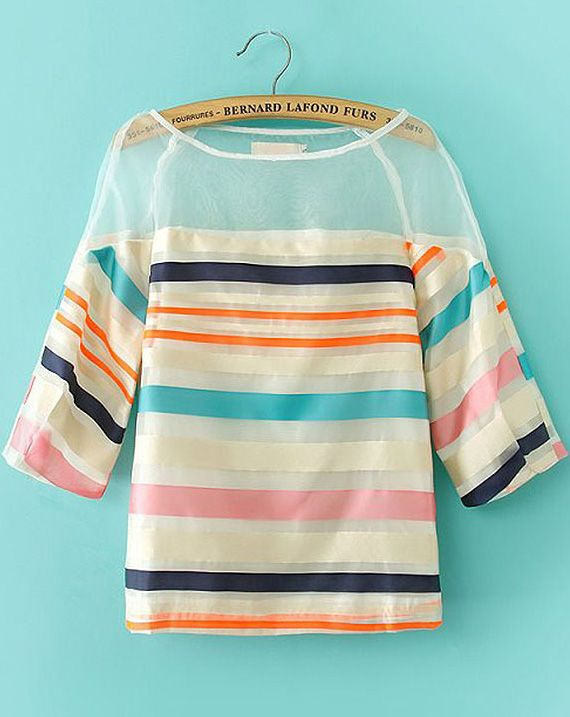 Multicolor Striped Organza Blouse