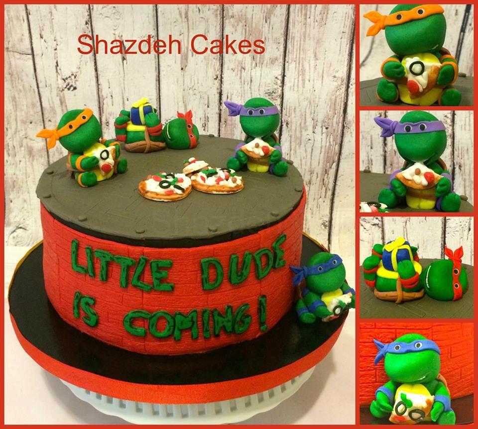 Elegant Ninja Turtles Baby Shower Cake! TMNT Cake! All Edible Characters ! Baby  Shower Party