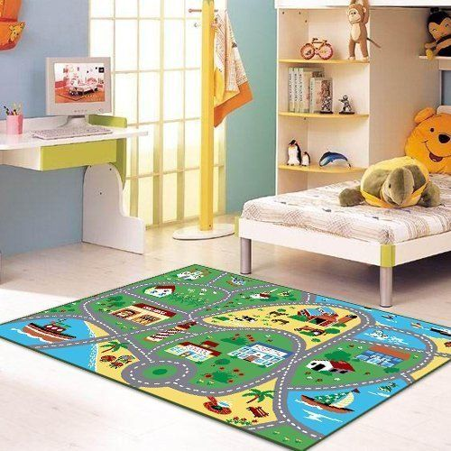 Furnish My Place City Street Map Children Learning Carpet Kids Rugs Boy Nursery Bedroom Playroom Clrooms Play Mat Rectangle 33 L