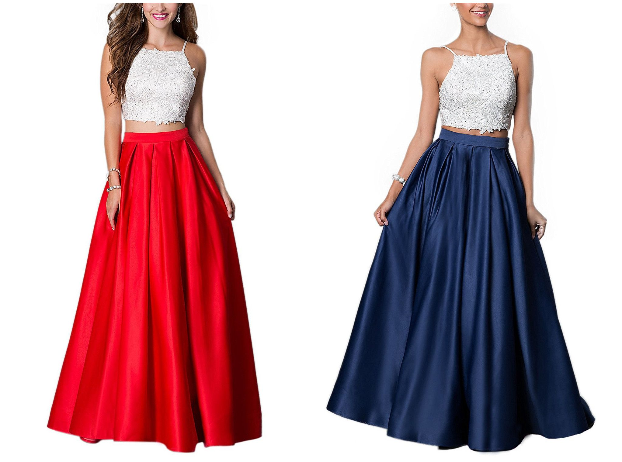 Long prom dresses for women evening gowns two piece lace rhinestone