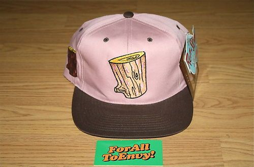 Vintage Log Ren Stimpy Show Snapback Hat Blockhead American Needle Toons  81182e4632b