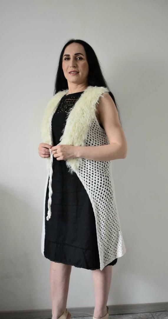 Milk White Tank Top Summer Party Vest Long Vest With Faux Fur Sleeveless Dress Cardigan Classic Long Jacket