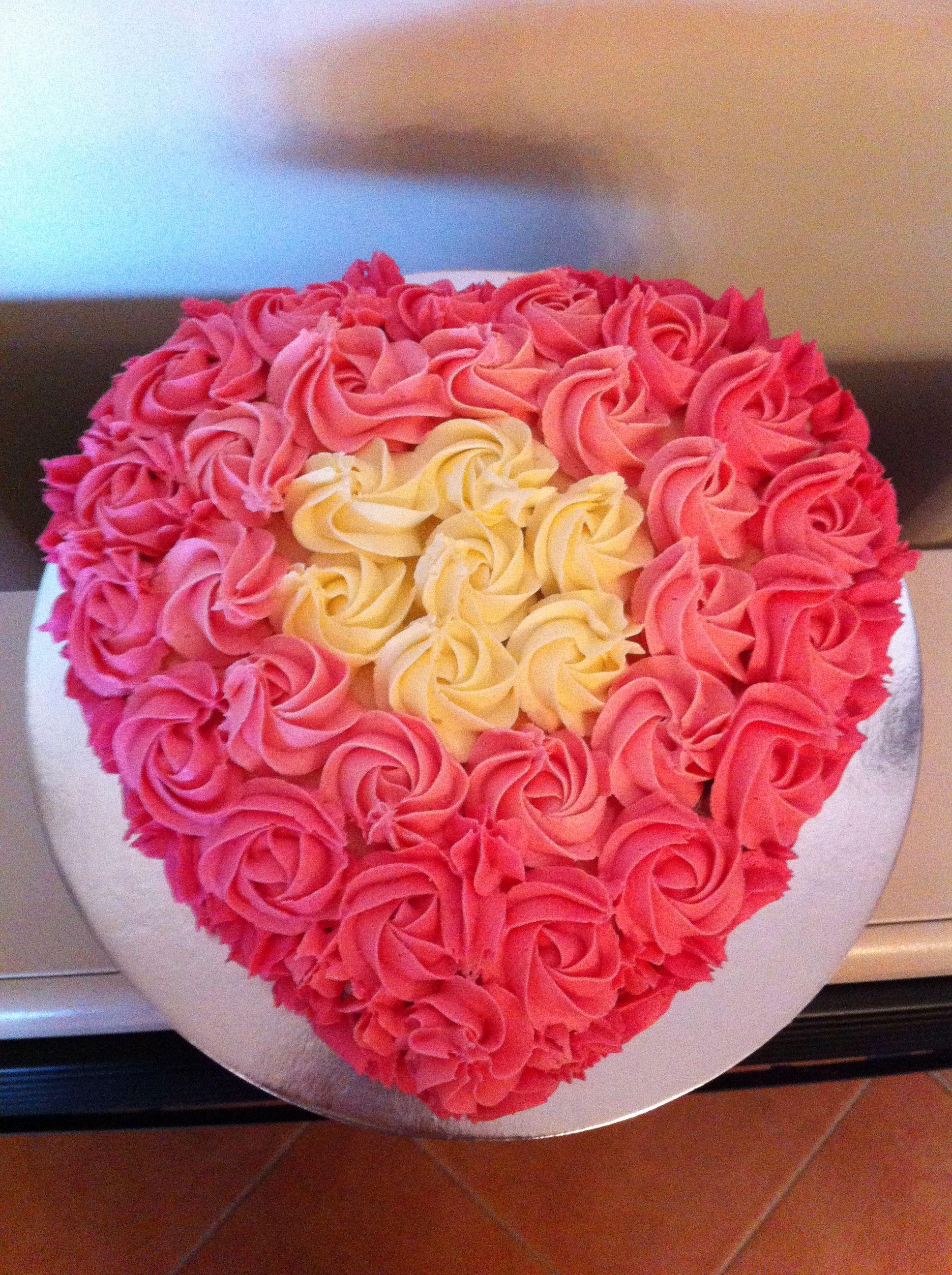 Rosette heart shape birthday cake baby girl birthday pinterest rosette heart shape birthday cake izmirmasajfo
