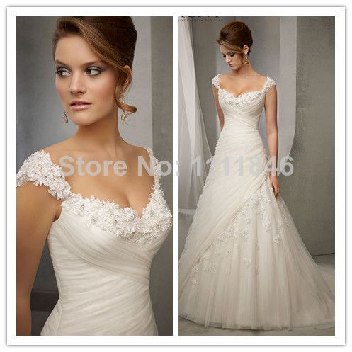 Elegant Princess Capped Sleeves Wedding Dresses 2015 Sweetheart A-line Appliques Bridal Gowns Small Train US $258.96