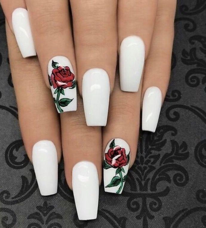 Rose Nail Art Acrylic Nails: Ongles, Idées Vernis à