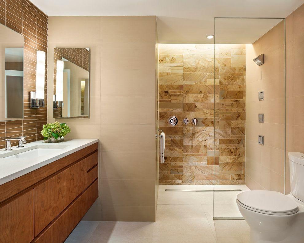 Kohler K 2210 0 Contemporary Bathroom Also Beige Cabinets Floating Vanity Glass Shower Wall Hanging Va Modern Bathroom Design Modern Bathroom Bathroom Interior
