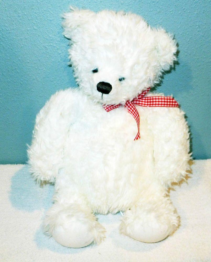 "HALLMARK TEDDY BEAR 14"" White Bean Plush Stuffed Red Plaid BOW Soft Cuddly #Hallmark"