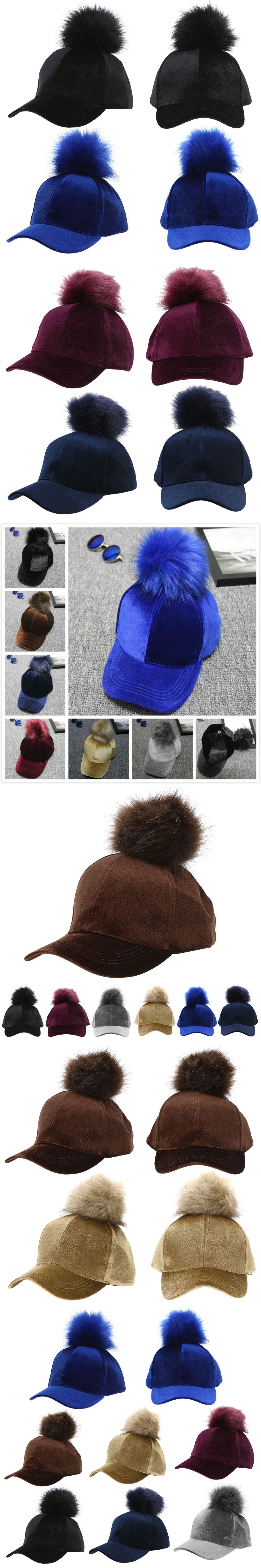 29d30b3ab00 Women Faux Fox Fur Pompom Baseball Caps Ball Suede Adjustable Pom Pom Cap  Hip-Hop