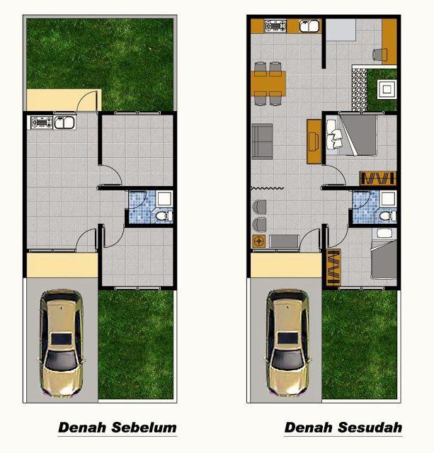 Denah Rumah Type 36 Renovasi | Ide buat Rumah | Pinterest ...