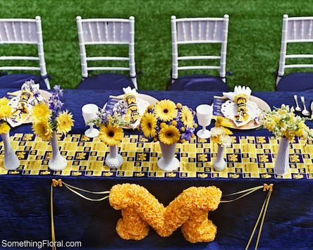 University of michigan football themed coed wedding shower university of michigan football themed coed wedding shower tablescape floral junglespirit Choice Image