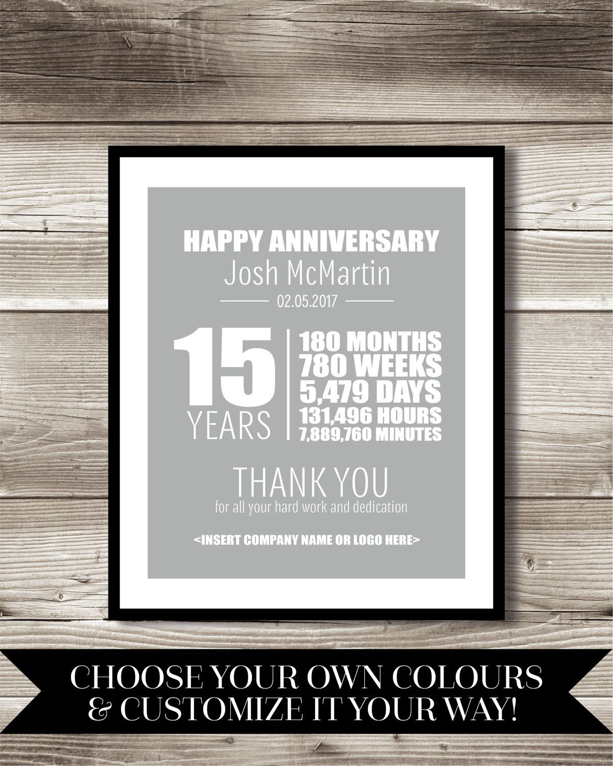 15 Year Work Anniversary Print Gift Digital Print Customizable