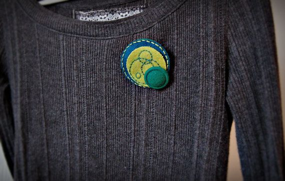 Circles Wool Embroidered Brooch by SewSweetStitches on Etsy