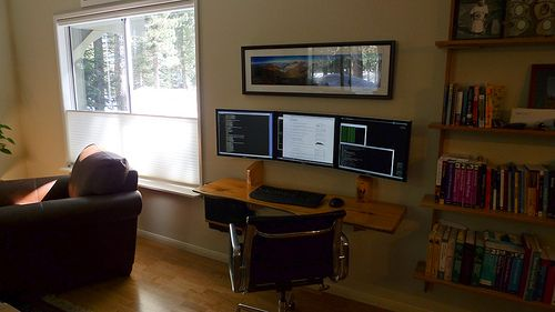 Hanging Desk 3 Monitor Workspace Tiny Home Office Work Space Bookshelves Built In