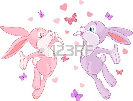 Valentine bunnies in Love, are In The Air. Stock Photo - 11977090