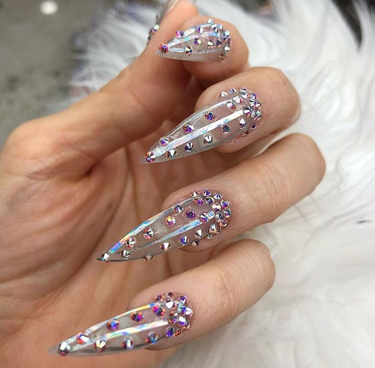 clear stiletto nails with rhinestones