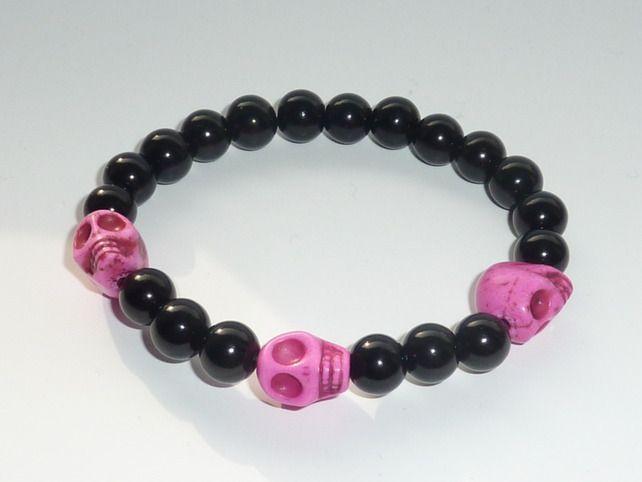 Punk Hot Pink Skull Bracelet £1.50