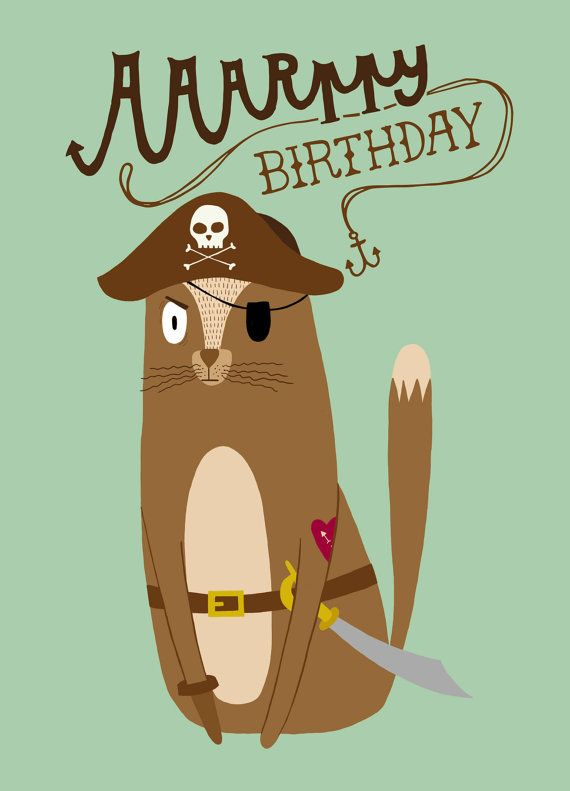 Love Saying Quotes Wallpapers Pirate Cat Birthday Card By Carolecstationery On Etsy