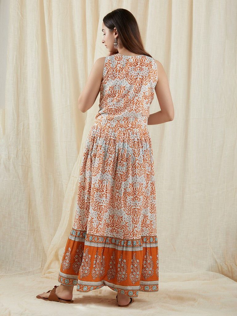 Hand block Printed Long gathered Cotton Dress Women/'s Summer Wear