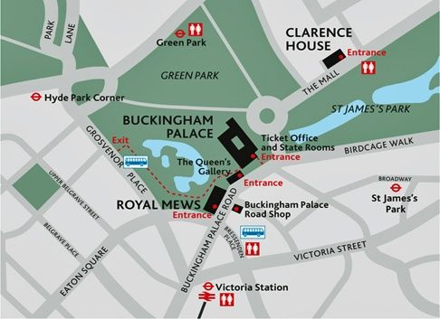 Map showing the locations of Buckingham Palace, the Royal Mews