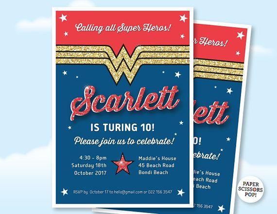 Wonder Woman Birthday Invitation Custom Invite