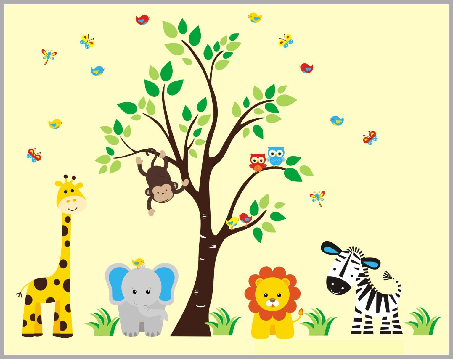 Kids Room Decals Childrens Animal Decals Jungle Wall Decals