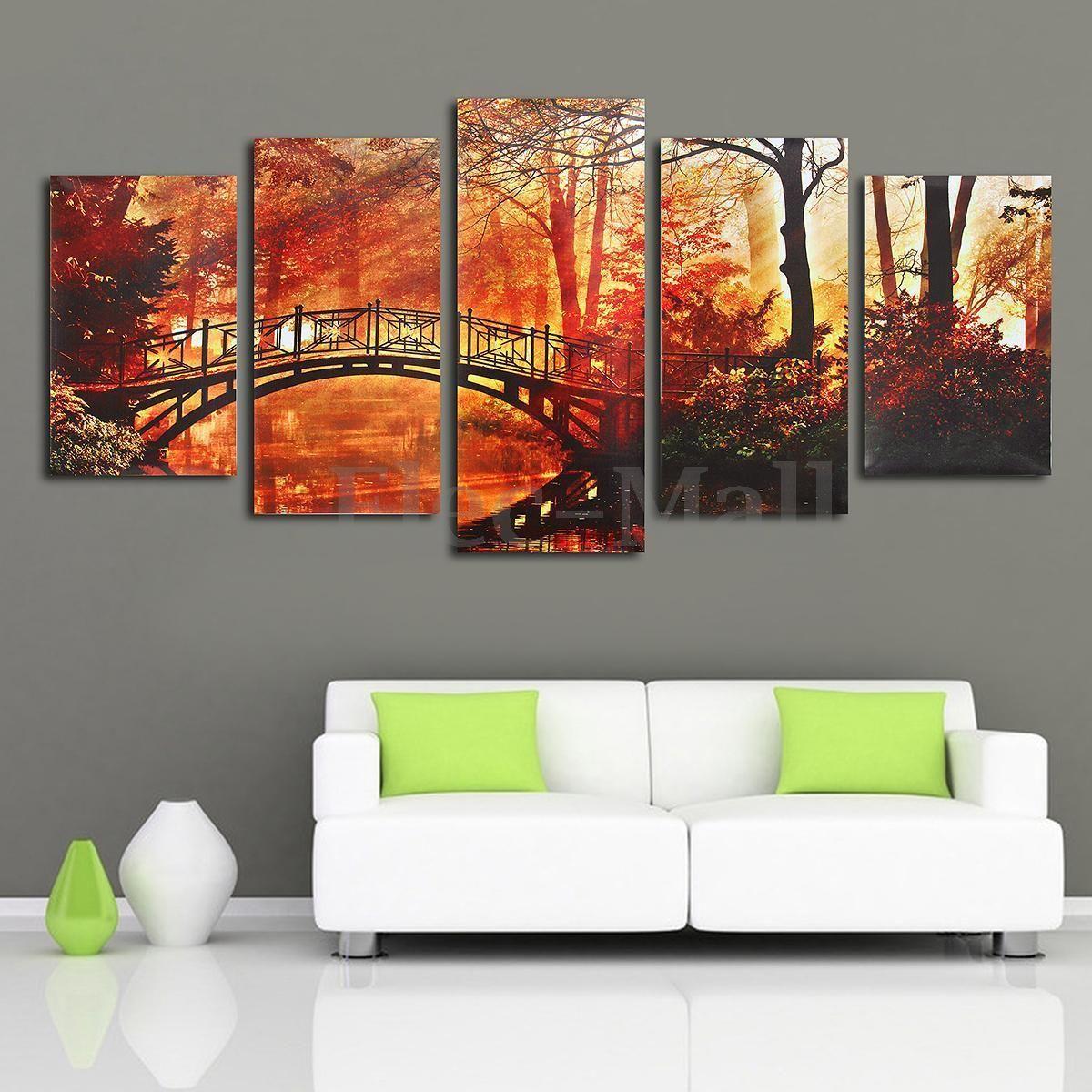 5PCS Modern Art Print Painting Maple Bridge Wall Home Decor On ...