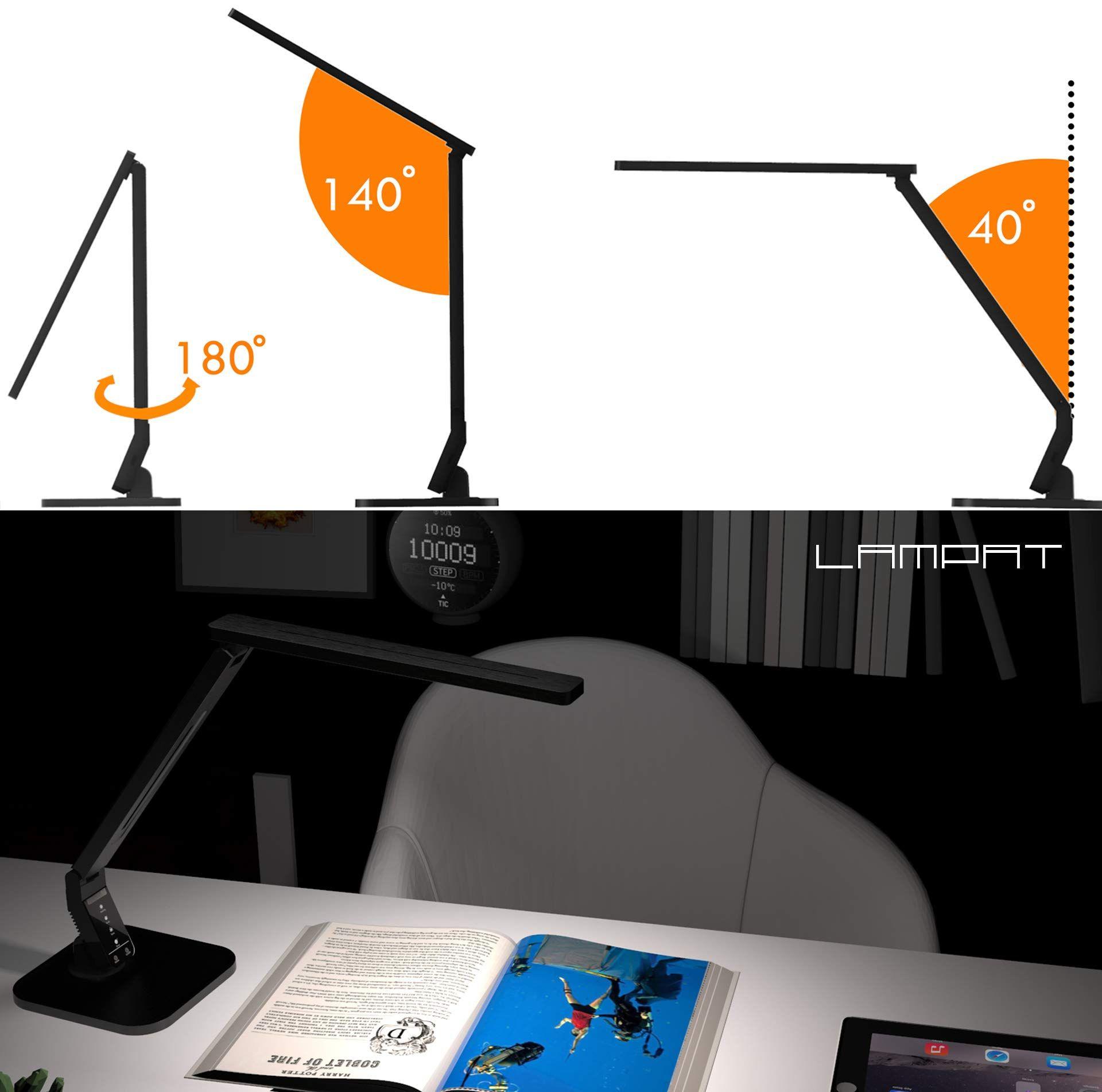Lampat Led Desk Lamp Dimmable Led Table Lamp Black 4 Lighting Modes 5level Dimmer Touchsensitive Control Panel 1hour Led Desk Lamp Led Table Lamp Dimmable Led