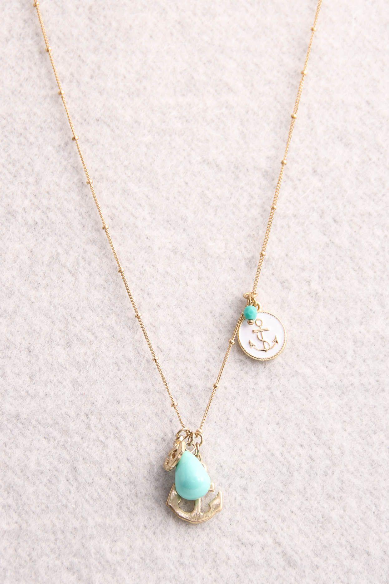 Aqua anchor necklace unika bling pinterest anchor necklace