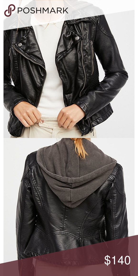 New With Tags Free People Jacket New With Tags Free People Jacket Size 4 Color Black Currently At Dillard S And Nordstrom Perfe Leather Jacket With Hood Vegan Leather Jacket Vegan Leather